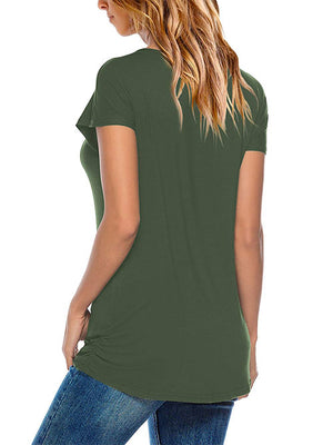 Women Round Neck T Shirts Army Green