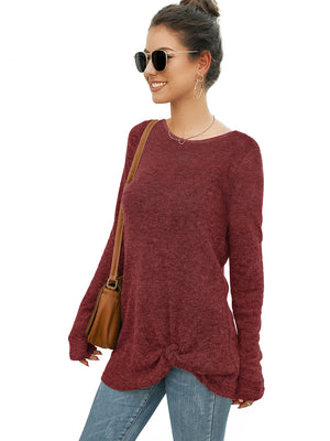 Twisted Knot Long Sleeve Knit Sweater