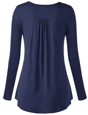 Long Sleeve Henley Tunic Top
