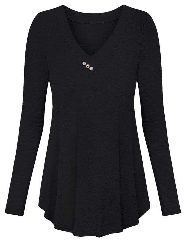 Women Long Sleeve Shirt with Button