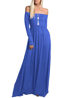 Blue Off Shoulder Maxi Dresses Women