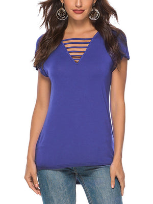 Blue Criss Cross T Shirts for Women