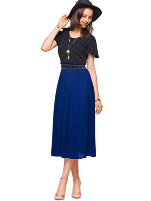 Lake Blue Women Short Sleeves Midi Dresses