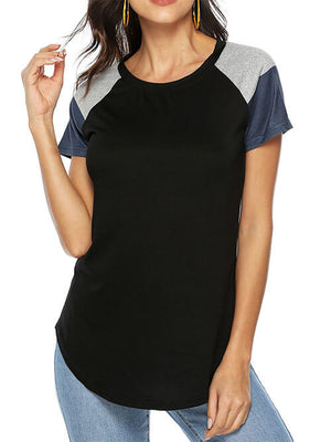 Black Casual Short Sleeve Patchwork Blouse Tops