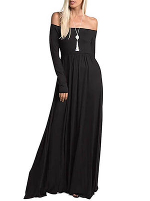 Black Long Sleeve Off Shoulder Maxi Dresses