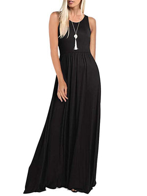 Black Sleeveless Long Maxi Dresses