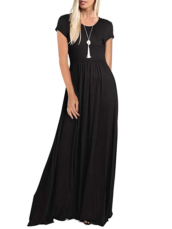 Black Women's Short Sleeve Maxi Dresses