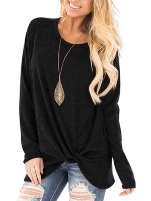 Twisted Tie Front Long Sleeve Tops