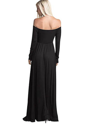Black Off Shoulder Maxi Dresses Women