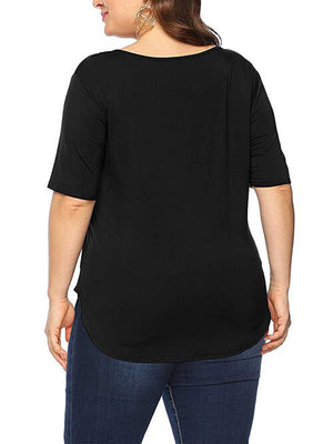Black V Neck T Shirts Casual Blouse Plus Size