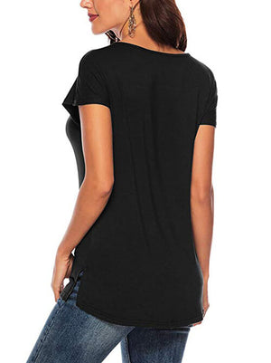 Black V Neck Tops