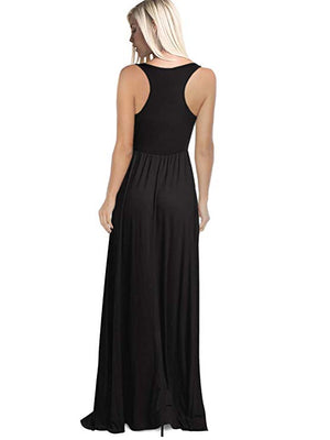 Women Sleeveless Maxi Dresses Black
