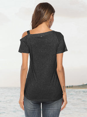 Black Knot Twist Front Tops Short Sleeve