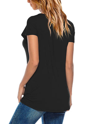 Black Round Neck Basic Tees