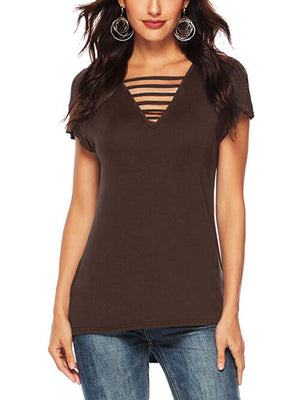 Brown Women V Neck T Shirts