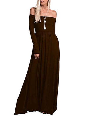 Brown Off Shoulder Maxi Dresses Women