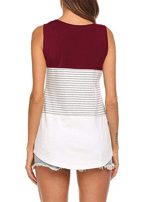 Color Block Sleeveless Tee Shirts Burgundy