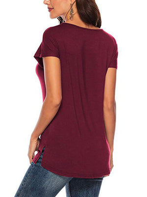 V Neck Criss Cross T Shirts Burgundy