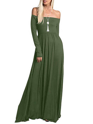 Olive Green Off Shoulder Maxi Dresses with Pockets