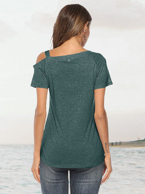 Army Green Knot Twist Front Tops