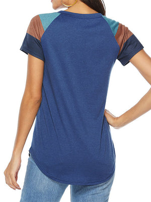 Navy Round Neck Patchwork Blouse Tops