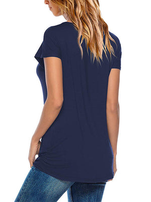 Navy Blue Bat Sleeve Basic Tops