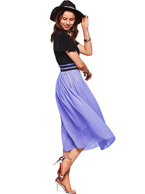 Lavender Women Short Sleeves Midi Dresses