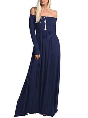 Navy Long Sleeve Off Shoulder Maxi Dresses with Pockets