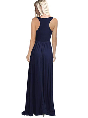 Round Neck Maxi Dresses Sleeveless Navy