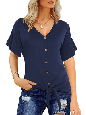 Short Sleeve T Shirts Tie Front Knot Navy