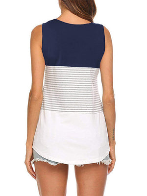 Women Navy Sleeveless Vest Tops