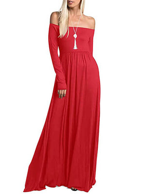 Red Long Sleeve Off Shoulder Maxi Dresses with Pockets