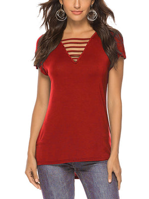 Red Women V Neck Tops