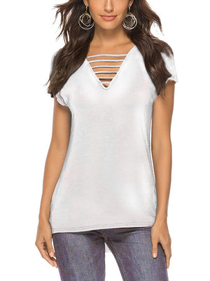 White Deep V Neck T Shirts Criss Cross