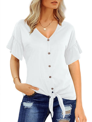 White Short Sleeve T Shirts Tie Front Knot