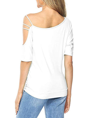 White Short Sleeve Tees Oblique Collar