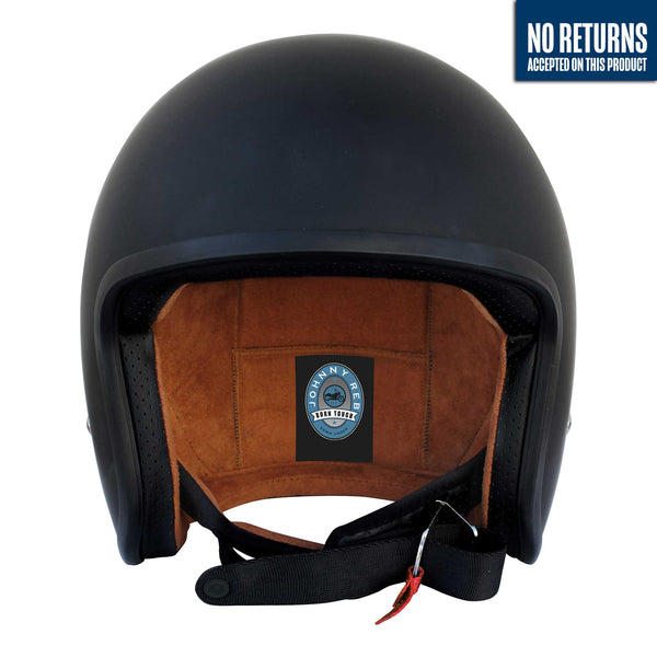 Burke Open Face Helmet - Matte Black/Brown Lining