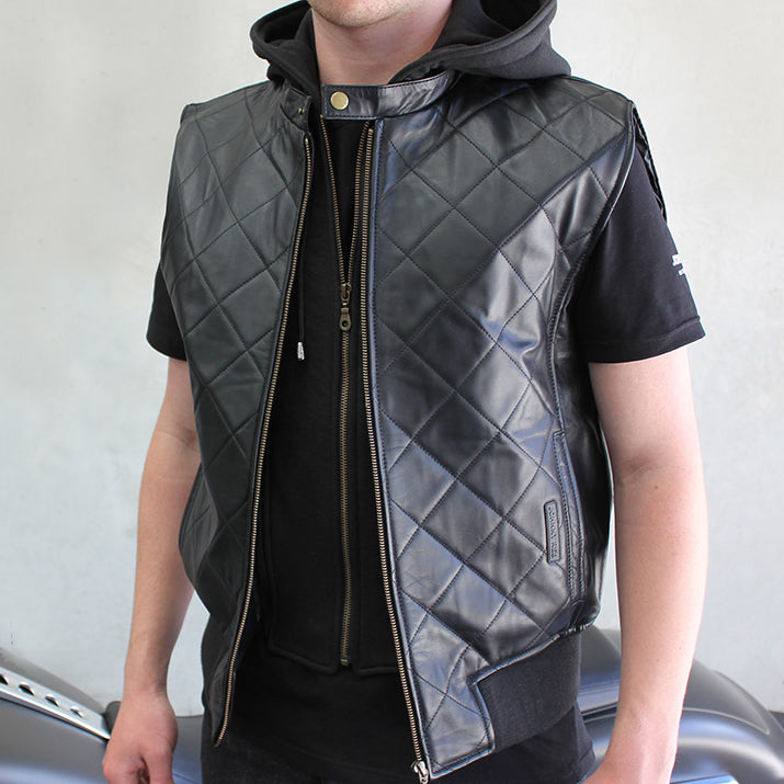 Men's Rocky Valley Leather Vest | Removable Hood