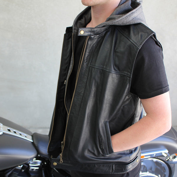 Men's Black Spur Leather Vest | Removable Hood