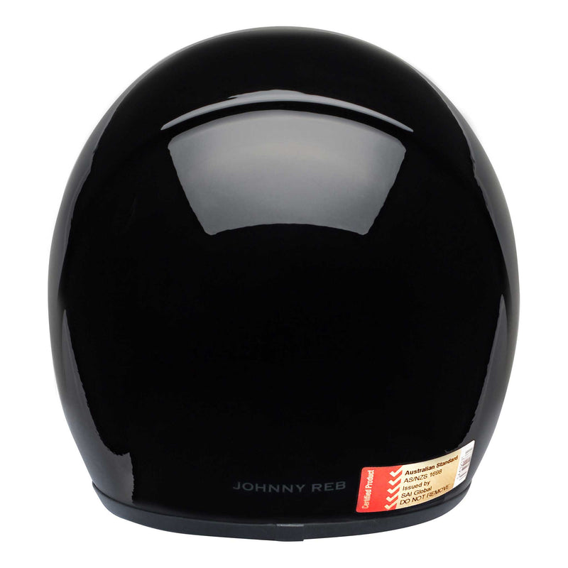 Burke Open Face Helmet - Gloss Black/Brown Lining