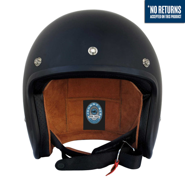 Olga Open Face Helmet - Matte Black/Brown Lining