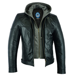 Men's Black Spur Leather Jacket | Removable Hood