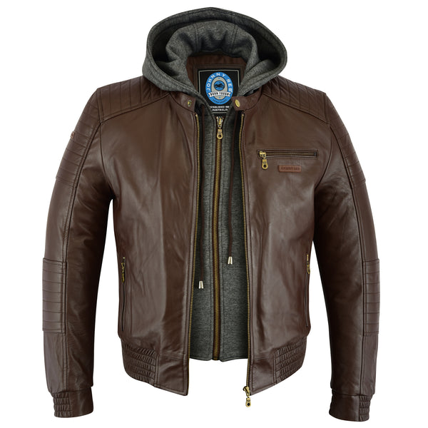Men's Omeo Leather Jacket | Removable Hood