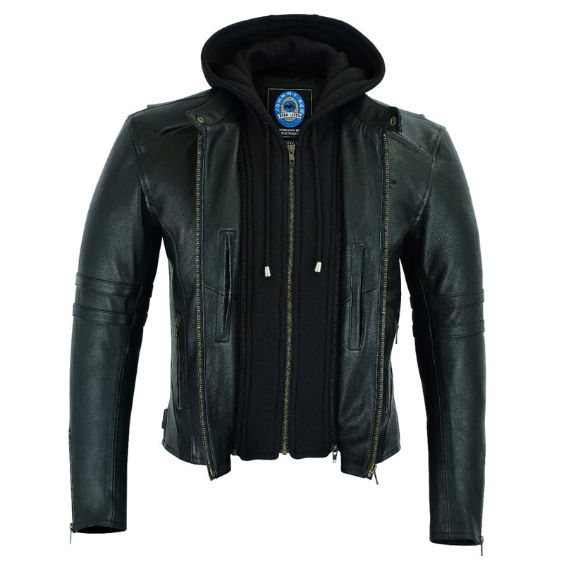 Men's Hawkebury Leather Jacket | Removable Hood