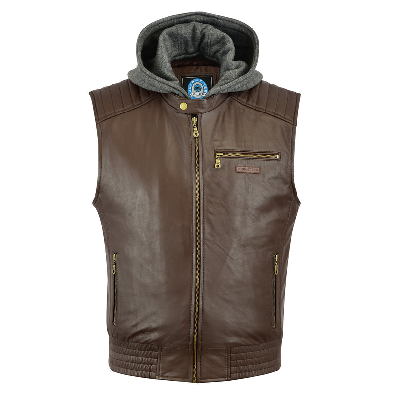 Men's Omeo Leather Vest | Removable Hood
