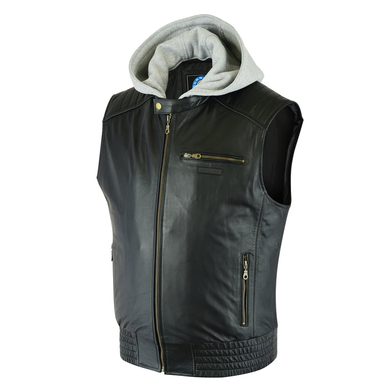 Men's Alpine Leather Vest | Removable Hood