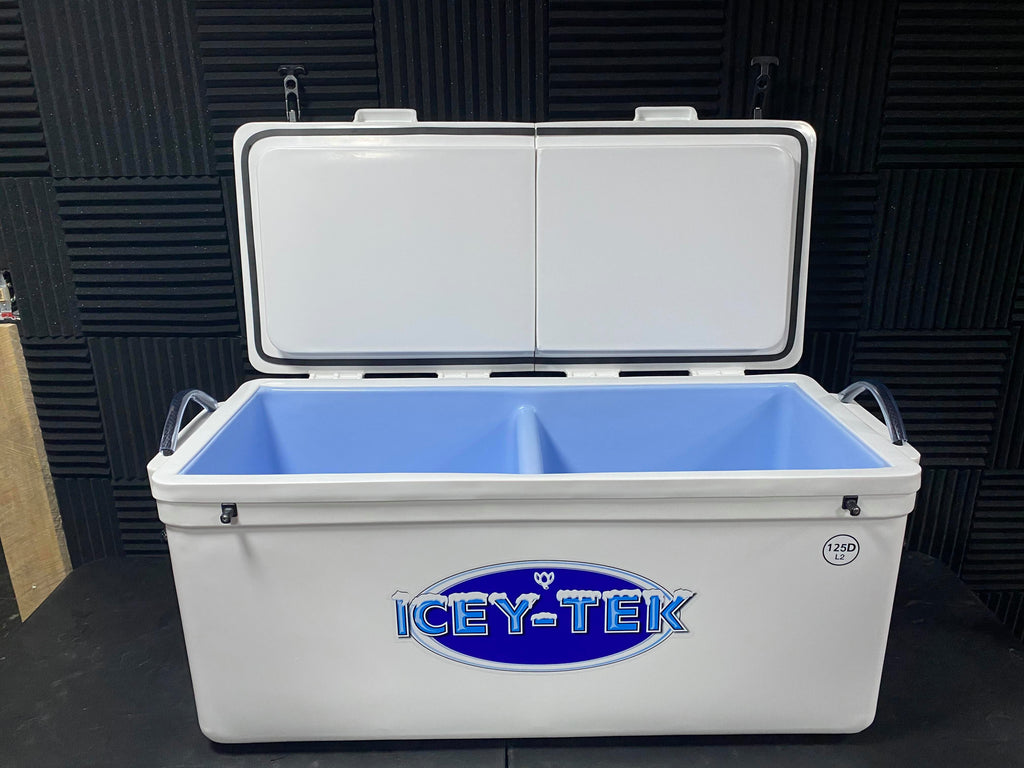 "ICEY-TEK Split-Lid 125 QT Cooler With Permanent 50/50 Divider - ""TWO COOLERS IN ONE"""