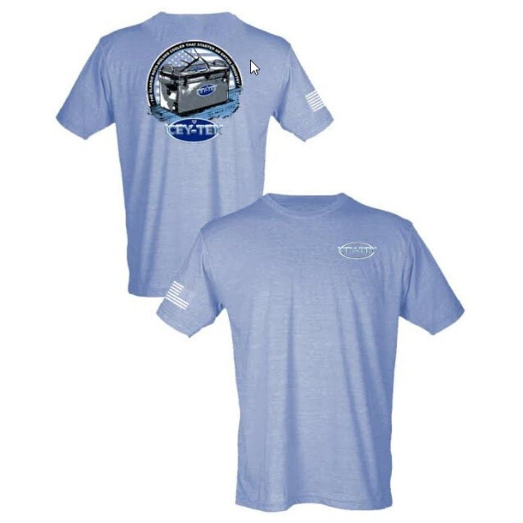ICEY-TEK USA Unisex Short-Sleeve Tri-Blend T-Shirt - (Antler on Cooler Design) - Light Blue