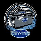 ICEY-TEK USA Unisex Short-Sleeve Tri-Blend T-Shirt - (Antler on Cooler Design) - Black Logo Closeup