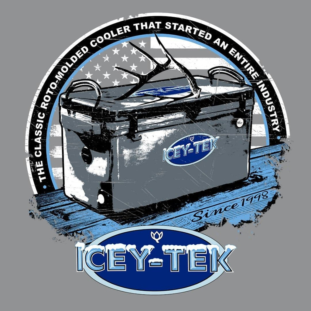 ICEY-TEK USA Unisex Short-Sleeve Tri-Blend T-Shirt - (Antler on Cooler Design) - Light Blue Logo Closeup